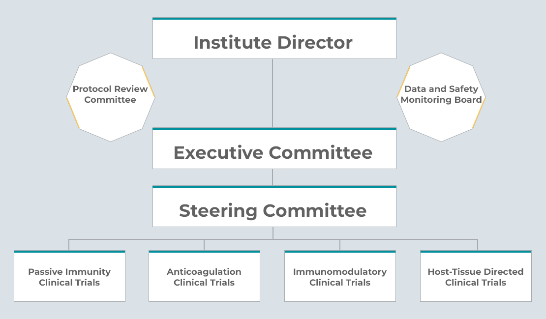 Institute Director; Executive Committee; Steering Committee; Passive Immunity Clinical Trials Expert Panel, Anticoagulation Clinical Trials Expert Panel, Immunomodulatory Clinical Trials Expert Panel, Host-Tissue Directed Clinical Trials Expert Panel. Protocol Review Committee. Data and Safety Monitoring Board.